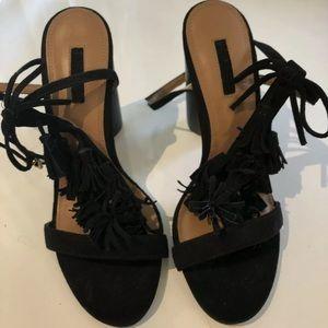 Topshop   fringe block heel strappy sandal 38
